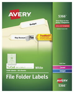 Avery 5366 File Folder Labels With Trueblock 2 3 X 3 7 16 Inches White Pack
