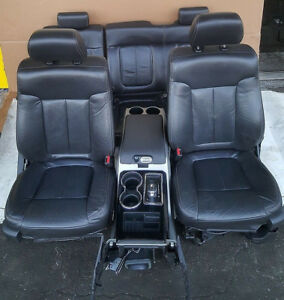 2009 2014 09 14 Oem Ford F150 Front Rear Black Leather Seats W Console