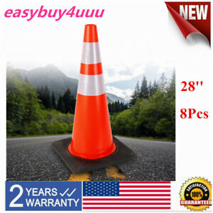 8 28 Traffic Cones Black Base 2 Reflective Collars Road Parking Safety Cones