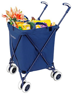 Detachable Heavy Duty Canvas Bag Easy Rolling Folding Shopping Utility Cart