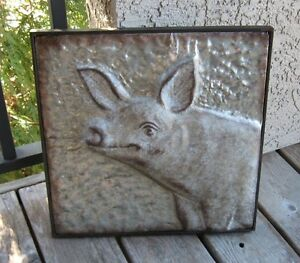 Galvanized Metal Pig Wall Art Primitive French Country Kitchen Farmhouse Decor