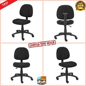 Ergonomic Office Swivel Seat Upholstered Armless Task Chair Without Arms Black
