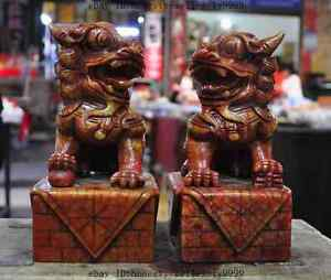 8 Chinese Natural Old Jade Carved Foo Dog Lion Beast Evil Spirits Statue Pair