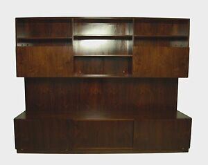 Large Danish Rosewood Wall Unit Console Or Wall System Mid Century Modern