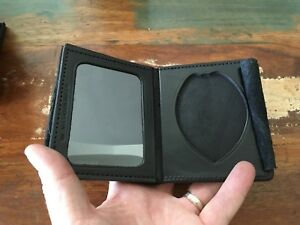 Tex Shoemaker Basketweave Leather Police Oval Badge Shield Id Wallet