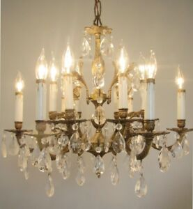 Fancy Vintage Brass Crystals Chandelier 12 Lights Ceiling Fixture 6 Arms