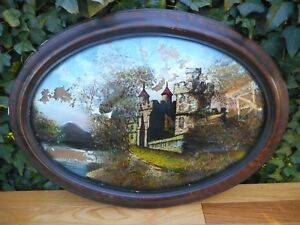 Vintage Reverse Painted Irish Castle Convex Glass Bowfront Frame Gesso
