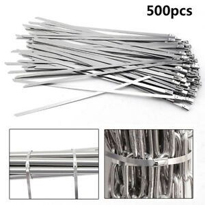 500pcs 12 Stainless Steel Metal Cable Zip Tie Self Locking Strap Exhaust Wrap