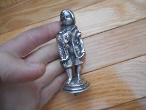 Vintage Dutch Boy Holding Blanket Heavy Silverplate Lamp Finial Trophy