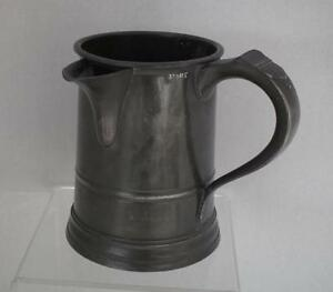 Antique 19th Century Victorian British Bristol Spouted Pewter Quart Tankard Mug