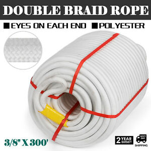 3 8 X 300 Double Braid Cable Pulling Rope W 6 Eyes On Each End