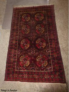 Vintage Persian Floral Red Yellow Wool Rectangle Runner Rug