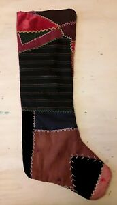 Antique Vintage Crazy Quilt Christmas Stocking Velvet Cotton 27 In