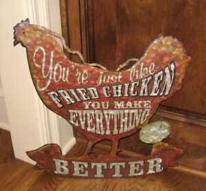 Metal Chicken Eggs Wall Sign Primitive French Country Farmhouse Kitchen Decor