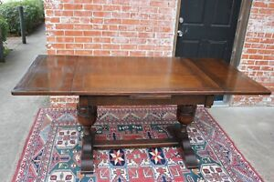 English Antique Oak Art Deco Draw Leaf Kitchen Dining Table