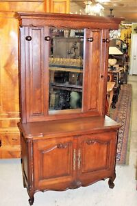 French Antique Oak Louis Xv Mirrored Hall Tree Tall Dresser With Hanging Racks