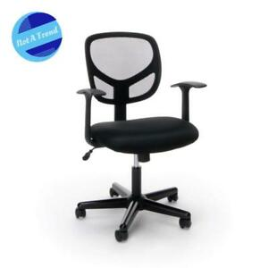 New Computer Swivel Chair Mid Back Mesh Task Chair With Arms Black Office Nice