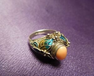 Antique Chinese Export Sterling Silver Coral Enamel Cloisonne Ring Size 7 3 4