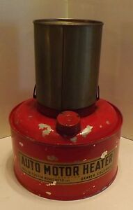 Car Motor Heater Vintage 1940s Bunsen Kerosene Red Color