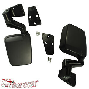 Pair Black View Door Mirrors Manual Side Set Right Left For 87 02 Jeep Wrangler
