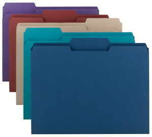 Smead 1 3 Cut Mediumweight Top Tab File Folders Letter Size Assorted Colors
