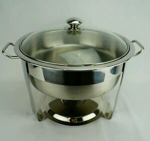Seville Classics Chafing Dish Large Round 14015 5 Qt Chafer Stainless Steel