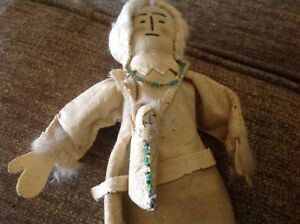 Antique Indian Cloth Doll W Baby Old Mini Woven Basket Doll Baby Are Beaded