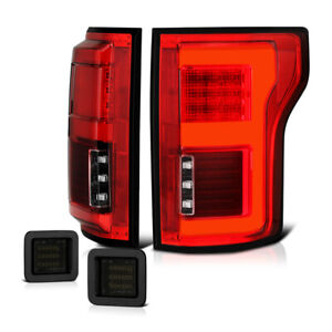 2015 2018 Ford F150 W blis Red Clear Led Bar Tail Light smoke License Plate Lamp