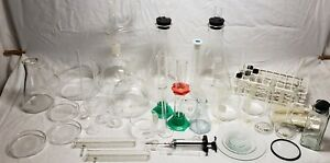 Large Mixed Lot Of Used Laboratory Pyrex Bottles Beakers Much More