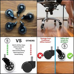 Replacement Office Wheel Chair Casters Heavy Duty 3 5 Pcs Protect For Hardwood