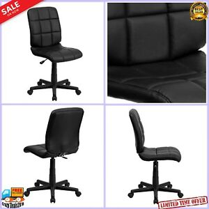 Armless Mid back Office Desk Computer Chair Swivel Seat Height Adjustable Black