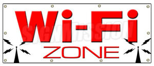 48 x120 Wi fi Zone Banner Sign Wifi Internet Cafe Hotspot Signs Free Web