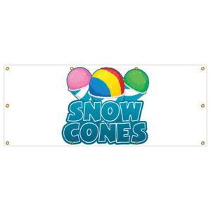 36 x96 Snow Cones Banner Sign Sno Cone Sno Kones Signs Stand Water Ice