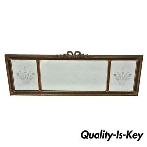 Antique Art Deco 50 Triptych Mirror Triple Panel Overmantle Wall Mirror