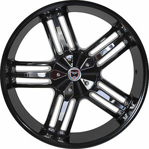 4 Gwg Wheels 24 Inch Black Chrome Spade Rims Fits Jeep Grand Cherokee 2005