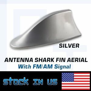 Car Vehical Roof Shark Fin Antenna Ornament Stereo Fm Radio Silver Universal Us