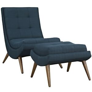 Ramp Modern Upholstered Lounge Chair And Ottoman With Wood Frame Azure Blue