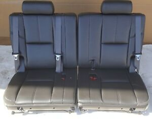 07 14 Chevy Tahoe Yukon Escalade Suburban 3rd Row Seat Ebony Black Leather