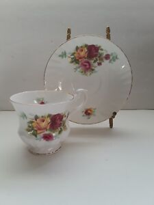 Vintage Fine China Tea Cup Saucer Yellow Red Roses By Royal Minster England