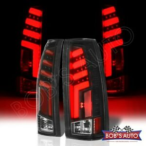 For 1988 1998 Chevy Silverado spartan Black Led Red Tube Taillights Brake L r