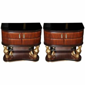 Art Deco Pair Of Night Tables By Dassi Et Figli Made In Italy