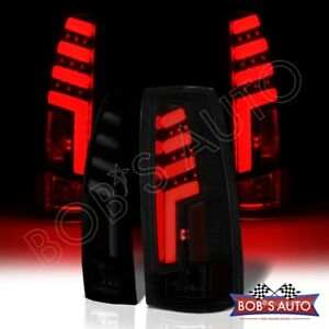 spartan For 92 99 Yukon Suburban Escalade Black Smoke Led Tube Taillight Brake