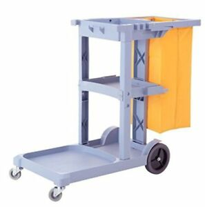Commercial Cleaning Janitorial Cart 3 Shelf W 25 Gallon Vinyl Bag