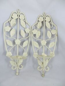 Vintage Wall Sconces Pair Of Wrought Iron Off White Leaves Candle 13