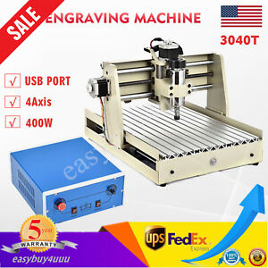 Usb 4axis 3040t Cnc Router Engraver Diy Milling Carving Carver Engraving Machine