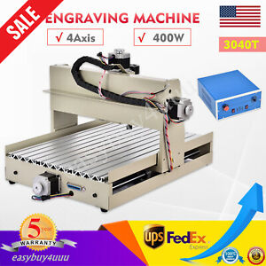 4axis 3040t Cnc Router Engraver Diy Desktop Milling Carving Engraving Tools 400w