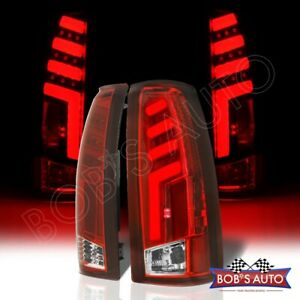 Spartan For 88 98 Gmc Sierra 1500 2500 3500 Red 3d Tube Led Taillights Pair