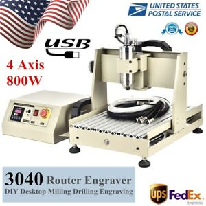 Usb 4axis Cnc3040 Router Engraver Wood Metalworking Carving Milling Machine 800w