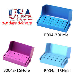 15 30hole Aluminium Dental Bur Box Fg Bur Holder Block Case Disinfection Box Usa