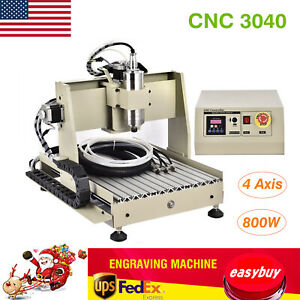4 Axis 800w 3040 Cnc Router Engraver Vfd Diy Wood Engraving Milling Carving Rc